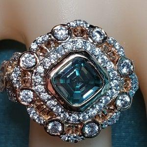 Vintage 1 ct moissanite 925 silver rose gold ring